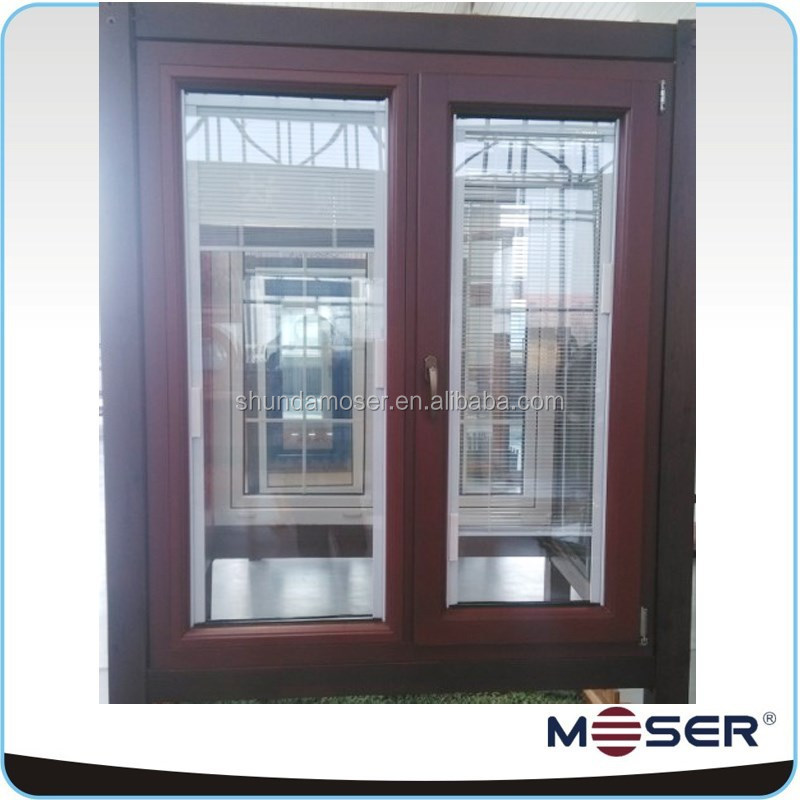 German style aluminum clad wood fixed and tilt and turn internal louver window