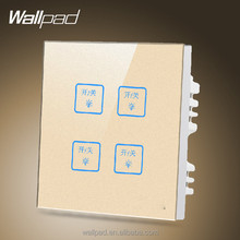 Hot Wallpad Customize LED UK Gold Waterproof Crystal Glass Touch switch 110~250V 4 gang 2 way 3 way Touch Light Wall Switch