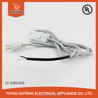 JT-2 CUL two core flat plug SVT 2x18AWG online white UL 303 switch desk light cotton braided fabric textile cable