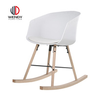 Wood Legs Chair With Fabric Cushion Seat Plastic Back Dining Room Rocking Chair