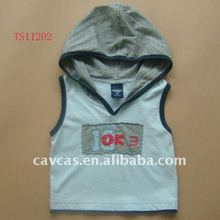 baby wear, fashion sleeveless baby t-shirt, baby garment with hood