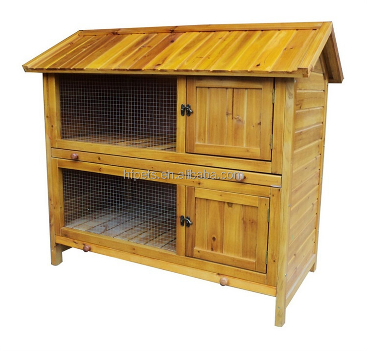 High Quality Cheap Two Floors Wooden Rabbit Hutch