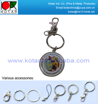 bespoke metal keychain with offset printing sticker