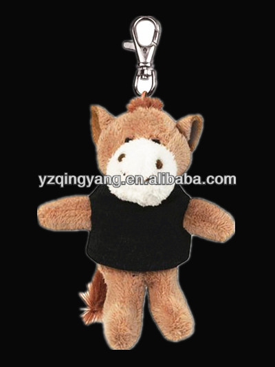 High quality cheap stuffed plush brown horse keychain toys for children