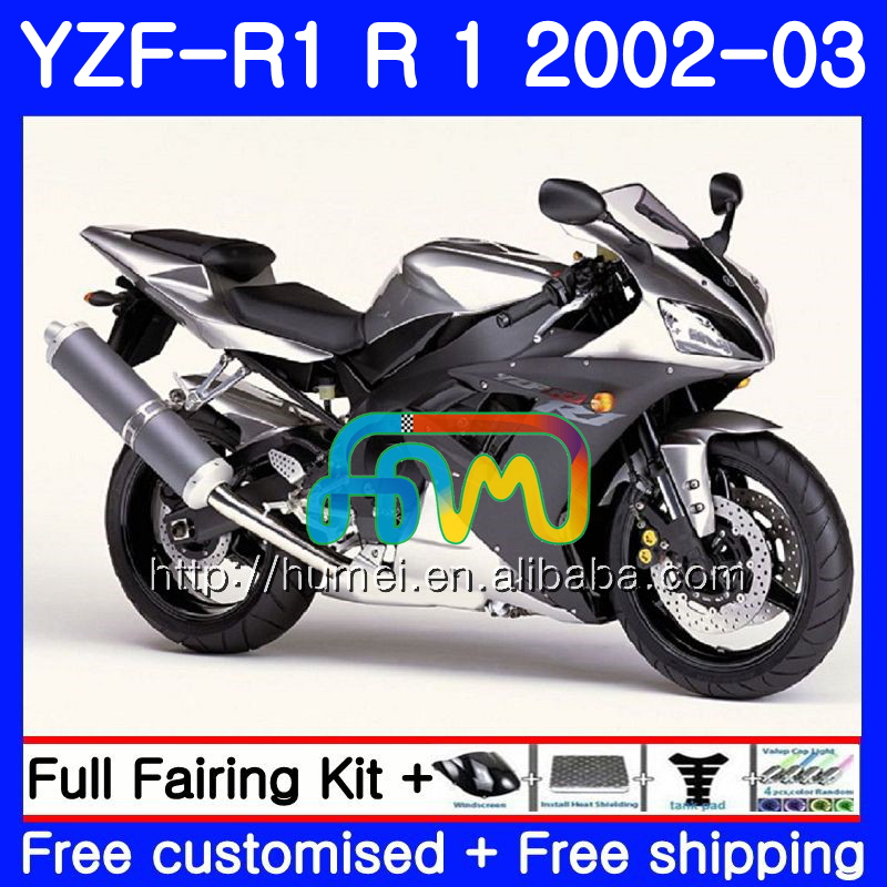 Body For YAMAHA YZF Silver black 1000 YZFR1 <strong>02</strong> <strong>03</strong> YZF-1000 Bodywork 99HM28 YZF R 1 YZF <strong>R1</strong> <strong>02</strong> <strong>03</strong> YZF1000 YZF-<strong>R1</strong> 2002 2003 <strong>Fairing</strong>