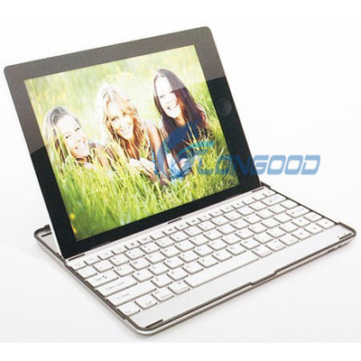 Large stock 3 in 1 Aluminum Wireless Bluetooth Keyboard Case Stand Bluetooth Keyboard for iPad 2