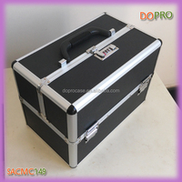 Black dirt-resistant ABS surface aluminium combination lock cosmetic case