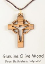 olive wood Celtic Cross Necklaces