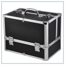 Wholesale professional aluminum trolley rolling lighted cosmetics display makeup case with wheels stand JH539L