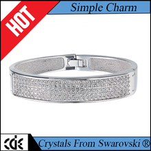 CDE China crystals from Swarovski factory wholesale fashion lady fancy trend latest design daily wear brass cuff bangle