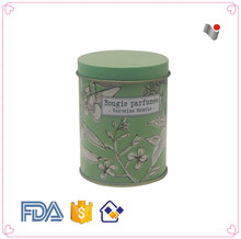 Shallow green Custom round biscuit tin wholesale