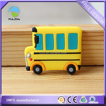 custom yellow toy car vehicle soft pvc rubber souvenir fridge magnet