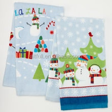 China hot sale 100% cotton reactive printing Christmas Snowman Family 2-pk. Kitchen Towels