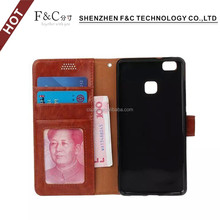 2016 amazon hot sale Ultra Slim Flip Phone Protector for HUAWEI p9, with Wallet Feature of Card Slot/Money Pocket