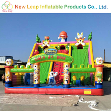 Kids world Cartoon playground inflatable game with big slide