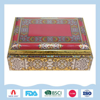 Large rectangular metal tin box for daily necessities storage