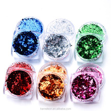 Aluminum Nail Flakes Sequins Powder Magic Mirror Glitters Gold Silver Red Colors Irregular Pigment Nail Decoration