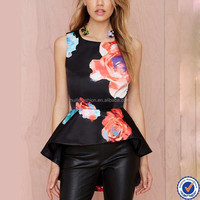 Dongguan Women Fashion Printed Sleeveless Peplum Tops