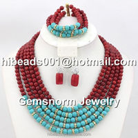 High Quality Coral/Turquoise Beads Necklace Indian Wedding Jewelry Set ABJ203