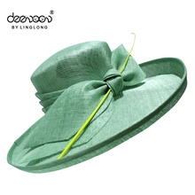 Festival Ladies Dress Hats Promotion Sinamay Wide Brim Hat Wholesale