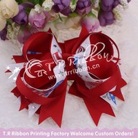 red, big ribbon bow, hair accessories with silver foil, about 4inches