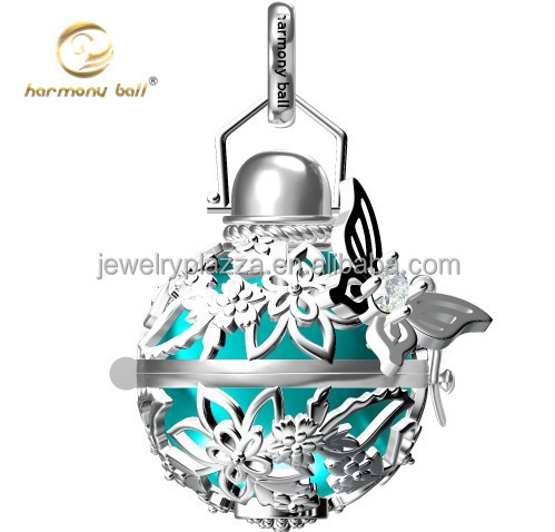 925 sterling silver Newest CAD design butterfly harmony ball mexican bola necklace pendant