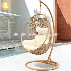 Outdoor round rattan wicker swing chair/ egg chair/ hanging swing