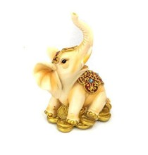Lot 120 Resin Elephant & Gold Coin Statue Figurine