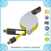 high quality colorful retractable noodle free samples 2 in 1 usb cable