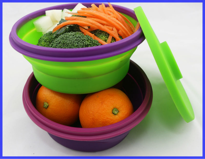 Floding Collapsible Silicone Take Away Lunch Box