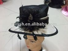 party fashion feather women flower top church hat MH-0220