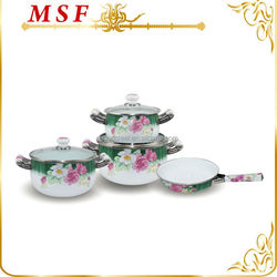 flower pattern decal exterior porcelain enamel cookware