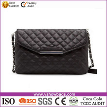 New styles ladies quilted bag black pu messenger clutch bags