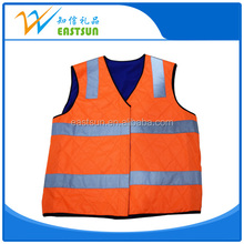 100% cotton orange safety vest winter safety vest eiderdown high visibility winter reflective safety vest/cloth