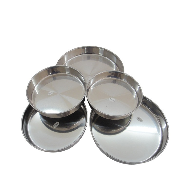 Stainless steel 410 24-40cm Custom small metal tray/ Round metal food tray