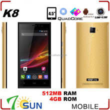 MTK6582 UNLOCKED K8 Smartphone Android 4.4 Quad Core 1.3GHz 4.5inch mtk6582 quad core phone