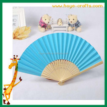 colored paper sector hand fan folded bamboo hand fan rib