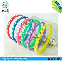 china manufacturer fashion diamond silicone bracelet,round thin silicone bracelet