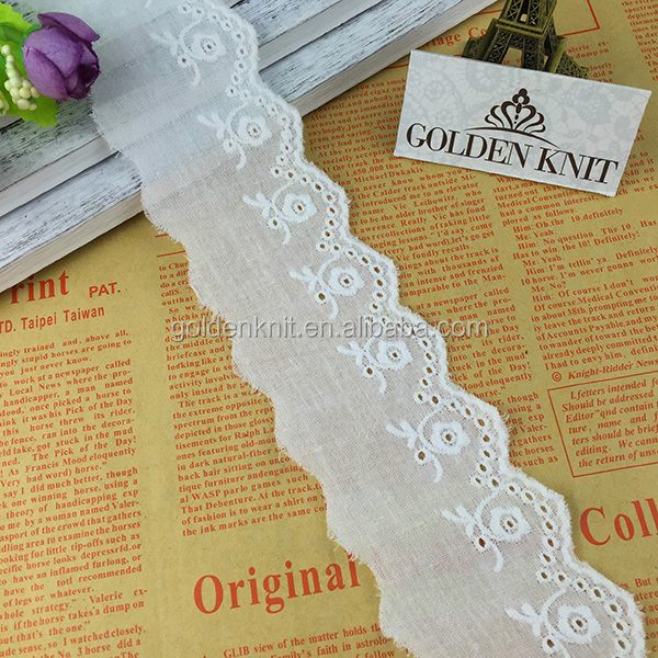 5cm Width Decorative Eyelet Cotton Lace Trimmings for Clothes