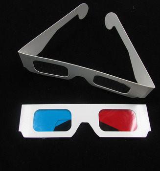 Promotion red & cyan, or red & blue 3D Paper Glasses