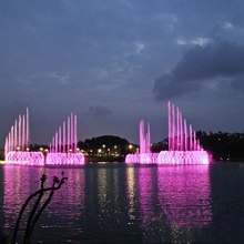 Outdoor lakes lighted water music spray fountain
