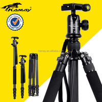 Multipurpose photography dslr camera tripod converted into hand held monopod for action camera