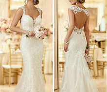 Alibaba Sexy Appliqued Open Back Deep V Mermaid Wedding Dresses 2017