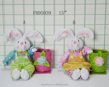 Easter baskets with rabbit ornament for Easter decoration