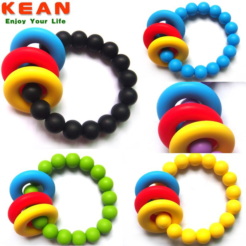 BPA Free Food Grade Colorful Silicone Rubber Bracelet for Baby Chew