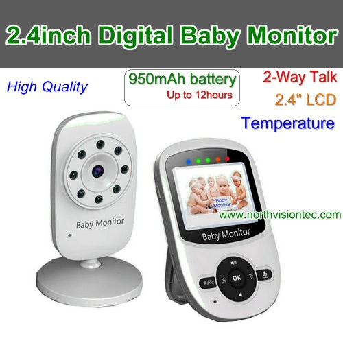 Wireless Video 2.4 inch Color Baby Monitor Security Camera 2 Way Talk NightVision IR LED Temperature Monitoring