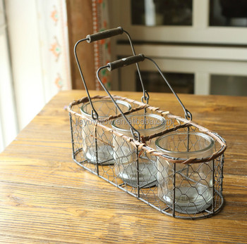 Handmade Antique Stainless Steel Plant Pot Wire Flower Pot Plant Stand Outdoor Decorative Flower