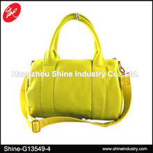 Plain Yellow Faux Leather Fashion Travel Bag