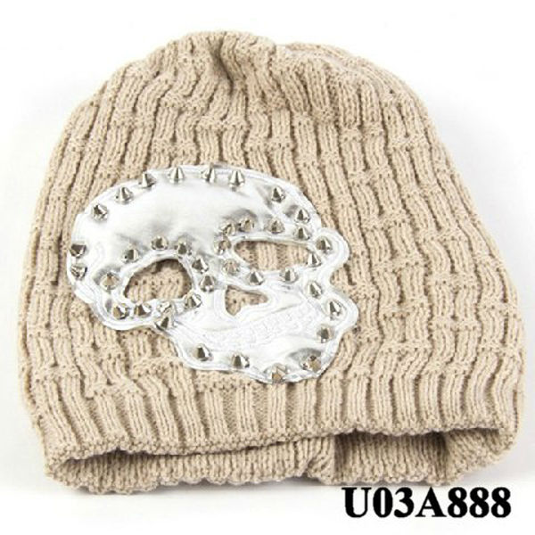 Fashion skull head rivet knitted hats fashionable