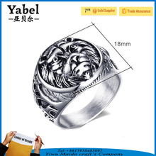 Wholesale animal jewelry cheap stainless steel lion head rings men